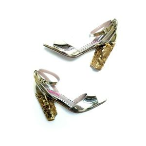 Betsey Johnson Gold Sequin Chunky Heel Ankle Strap